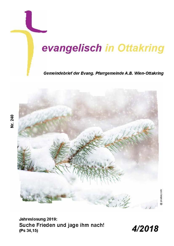 Cover des Gemeindebriefes mit einem Nadelbaum im Schnee